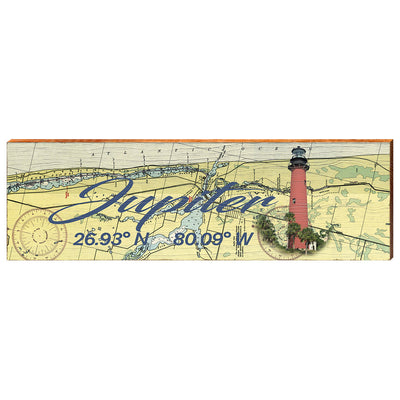 Jupiter, Florida Navigational Chart with Jupiter Inlet Lighthouse Wall Art-Mill Wood Art