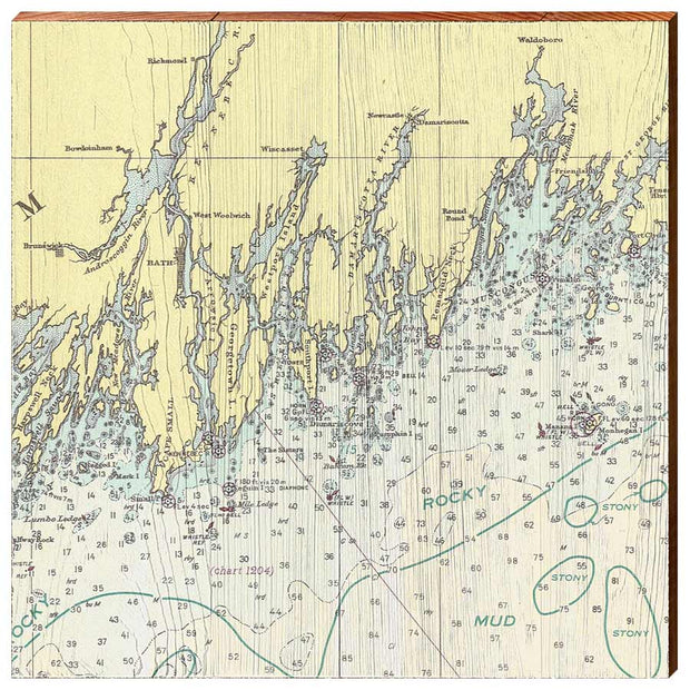 Bath, Maine and Surrounding Areas Navigational Chart Square Wall Art-Mill Wood Art