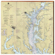 Upper Chesapeake Bay Navigational Chart Square Wall Art-Mill Wood Art
