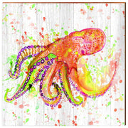 Watercolor Coral Octopus-Mill Wood Art
