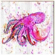 Watercolor Pink Octopus-Mill Wood Art