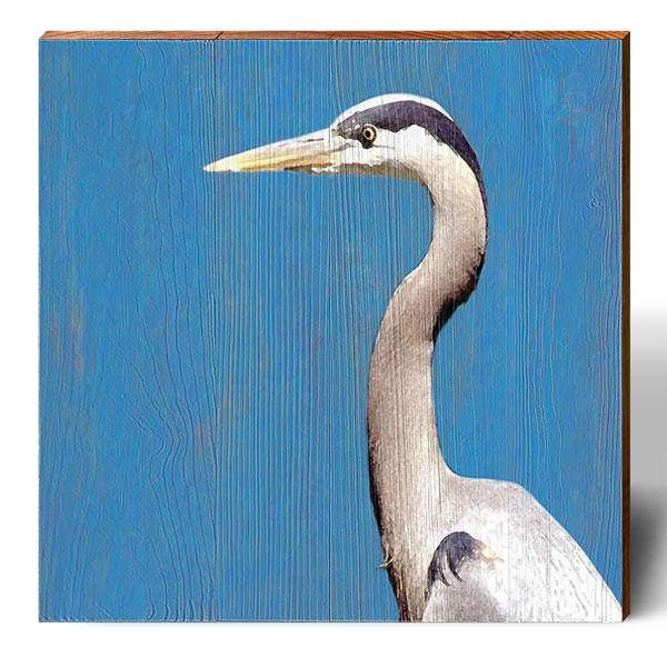 Blue Background Heron-Mill Wood Art