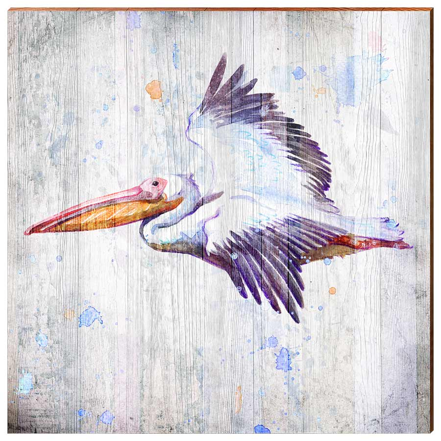 Watercolor Pelican-Mill Wood Art