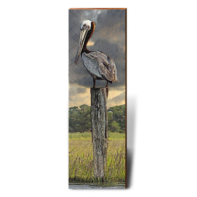 Pelican on Pylon Piece-Mill Wood Art
