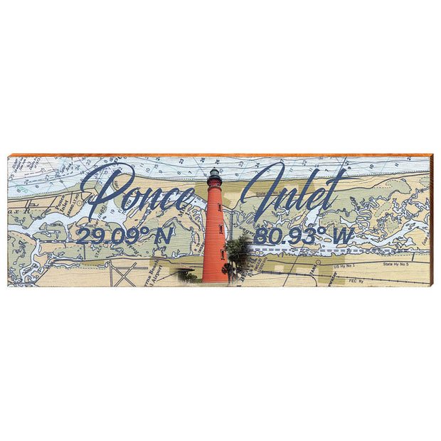 Ponce Inlet, Florida Navigational Chart with Ponce de Leon Inlet Lighthouse Wall Art-Mill Wood Art