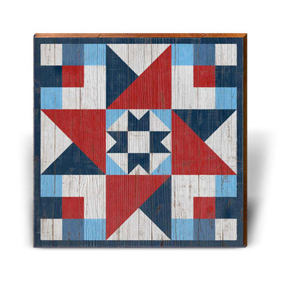 Red, White, and Blue Barn Quilt 3-Mill Wood Art