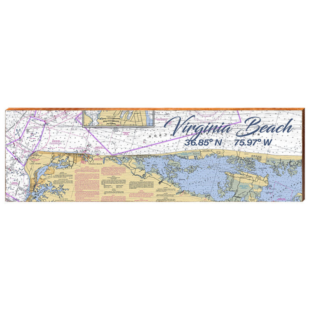 Virginia Beach, Virginia Navigational Styled Chart Wall Art-Mill Wood Art