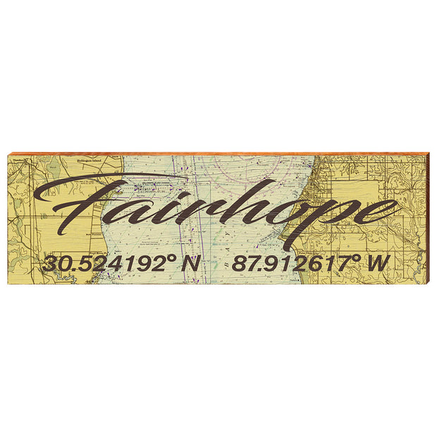 Fairhope, Alabama Natvigational Chart Antique Styled Wall Art-Mill Wood Art