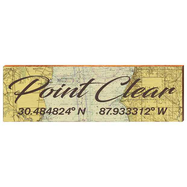 Point Clear, Alabama Navigational Chart Antique Styled Wall Art-Mill Wood Art