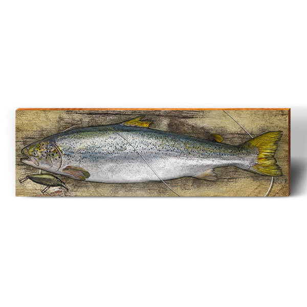 Coho Salmon Rustic Piece-Mill Wood Art