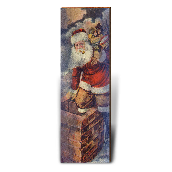 Santa Claus Up on the Rooftop-Mill Wood Art