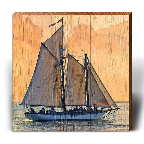 Schooner the Better - Square Piece-Mill Wood Art