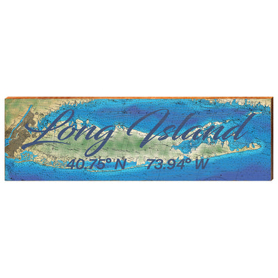 Long Island, New York Topographical Styled Chart - Cursive Text Wall Art-Mill Wood Art