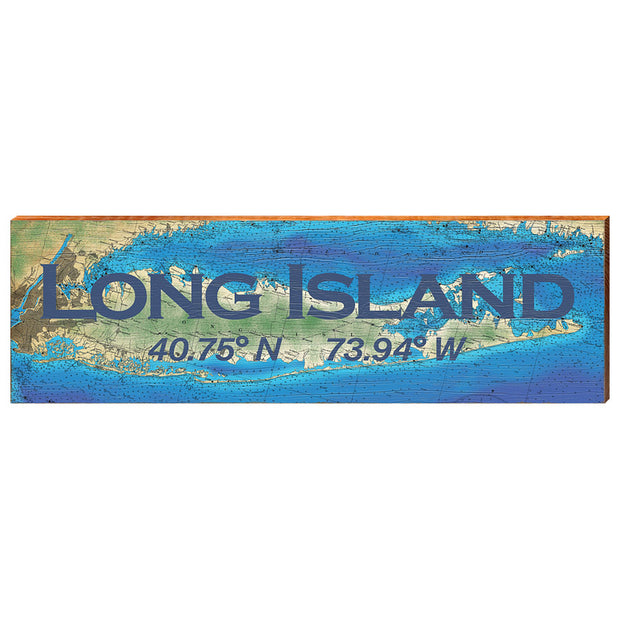 Long Island, New York Topographical Styled Chart - Standard Text Wall Art-Mill Wood Art