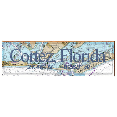 Cortez, Florida Navigational Chart - Standard Text Wall Art-Mill Wood Art