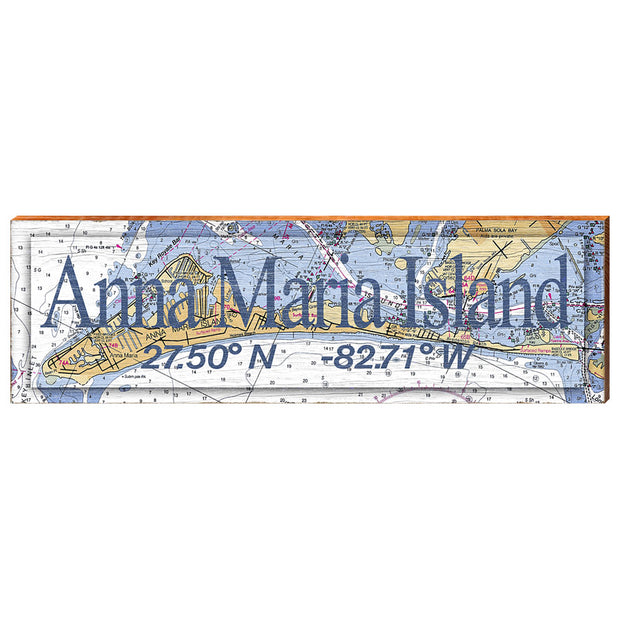 Anna Maria Island, Florida Navigational Chart - Standard Text Wall Art-Mill Wood Art