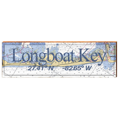 Longboat Key, Florida Navigational Chart - Standard Text Wall Art-Mill Wood Art