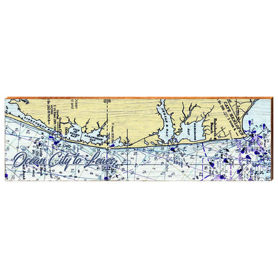 Ocean City, Maryland to Lewes, Delaware Navigational Styled Chart Wall Art-Mill Wood Art