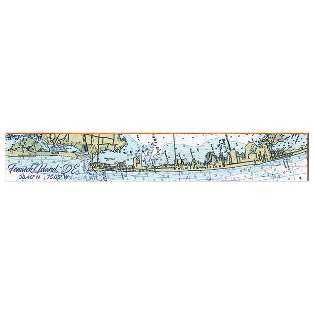 "Fenwick Island, Delaware Navigational Chart Large | Size: 9.5"" x 60"" Wall Art-Mill Wood Art"