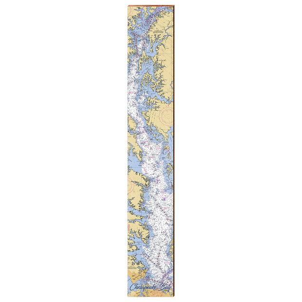 "Chesapeake Bay Navigational Chart Large | Size: 9.5"" x 60"" Wall Art-Mill Wood Art"