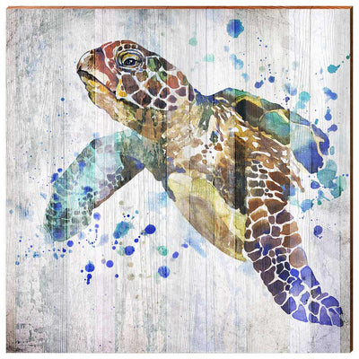 Watercolor Sea Turtle-Mill Wood Art