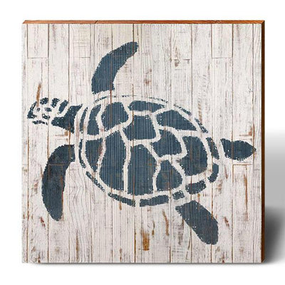 Minimalist Shabby Chic Sea Turtle-Mill Wood Art