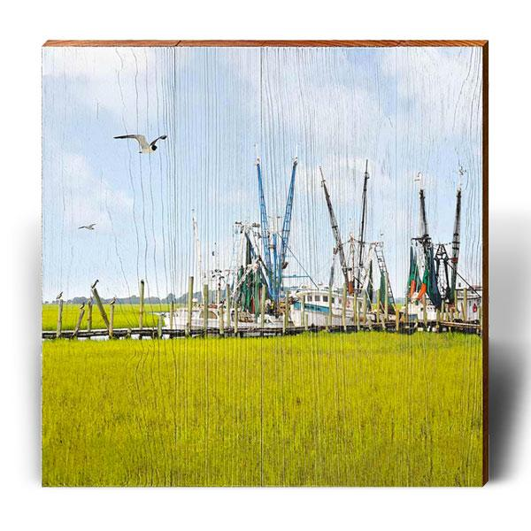 Calabash Shrimp Boats - Square Piece-Mill Wood Art