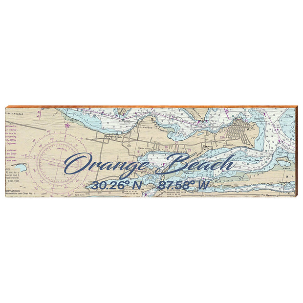 Orange Beach, Alabama Navigational Chart Small Text Wall Art-Mill Wood Art
