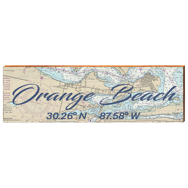 Orange Beach, Alabama Navigational Chart Big Text Wall Art-Mill Wood Art