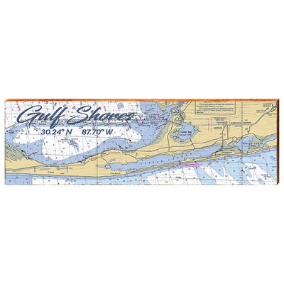 Gulf Shores, Alabama Navigational Chart Small Text Wall Art-Mill Wood Art
