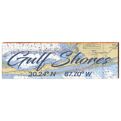 Gulf Shores, Alabama Navigational Chart Big Text Wall Art-Mill Wood Art