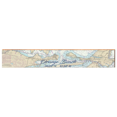 "Orange Beach, Alabama Large Navigational Chart Small Text | Size: 9.5"" x 60"" Wall Art-Mill Wood Art"