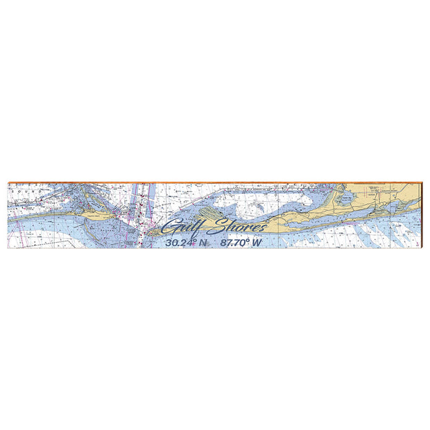 "Gulf Shores, Alabama Large Navigational Chart Small Text | Size: 9.5"" x 60"" Wall Art-Mill Wood Art"