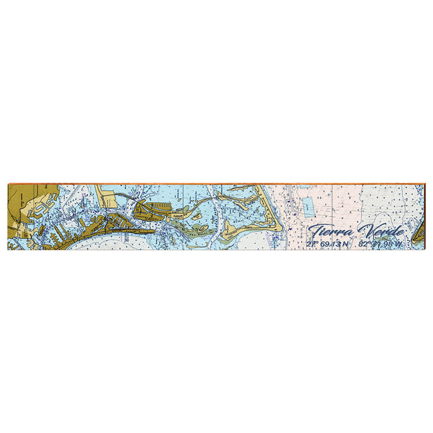 "Tierra Verde, Florida Navigational Chart Large | Size: 9.5"" x 60"" Wall Art-Mill Wood Art"