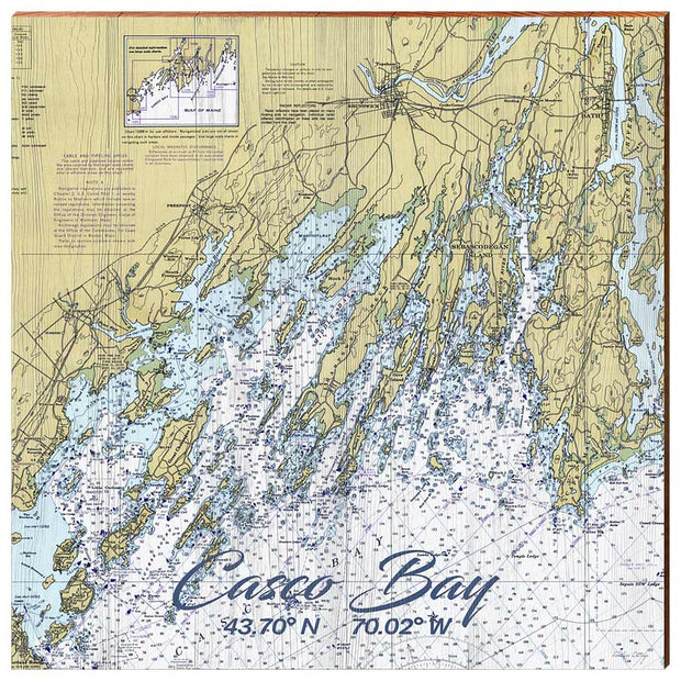 Casco Bay, Maine Navigational Chart Square Wall Art-Mill Wood Art