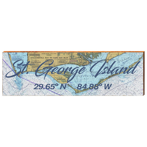 St. George Island, Florida Navigational Chart Wall Art-Mill Wood Art
