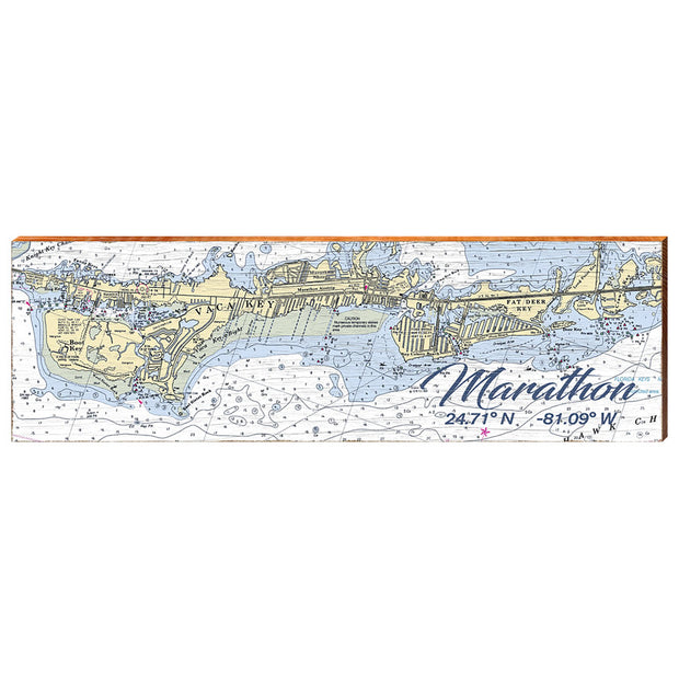 Marathon, Florida Navigational Chart Wall Art-Mill Wood Art