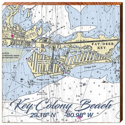Key Colony Beach, Florida Navigational Chart Square Wall Art-Mill Wood Art