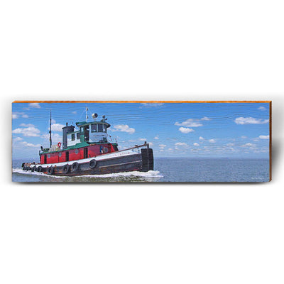 Tugboat Chugging Along-Mill Wood Art