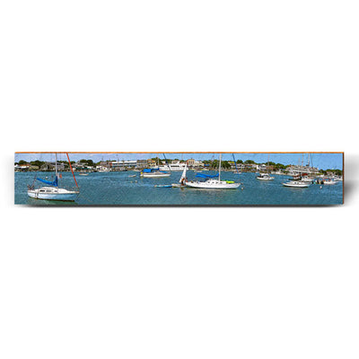 "Boats at the Harbor - Large | Size: 9.5"" x 60""-Mill Wood Art"