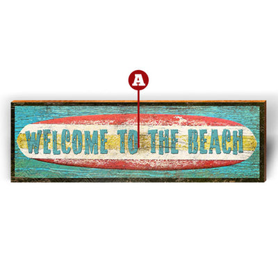 "Customizable Surf's Up ""Welcome To"" Piece-Mill Wood Art"