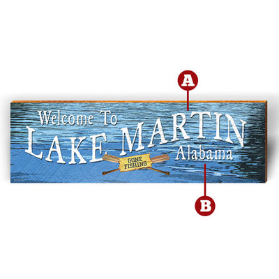 "Customizable Gone Fishin' Lake ""Welcome To"" Piece-Mill Wood Art"