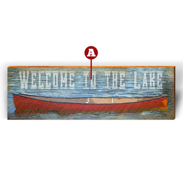 "Customizable Red Boat ""Welcome To"" Piece-Mill Wood Art"