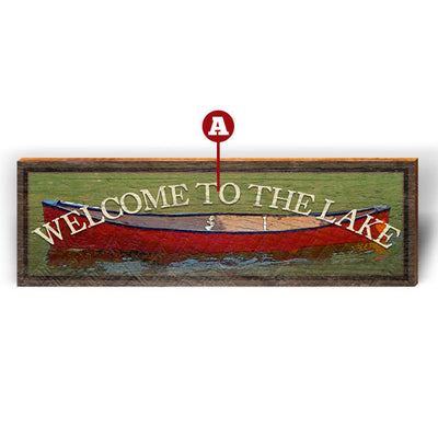 "Customizable Red Boat Green Background ""Welcome To"" Piece-Mill Wood Art"