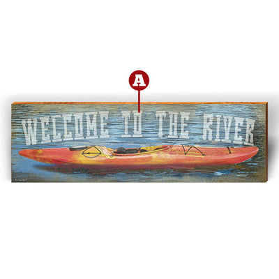 "Customizable River Kayak ""Welcome To"" Piece-Mill Wood Art"