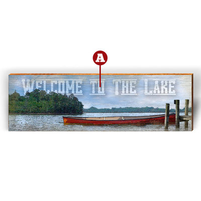 "Customizable Lake Scene ""Welcome To"" Piece-Mill Wood Art"