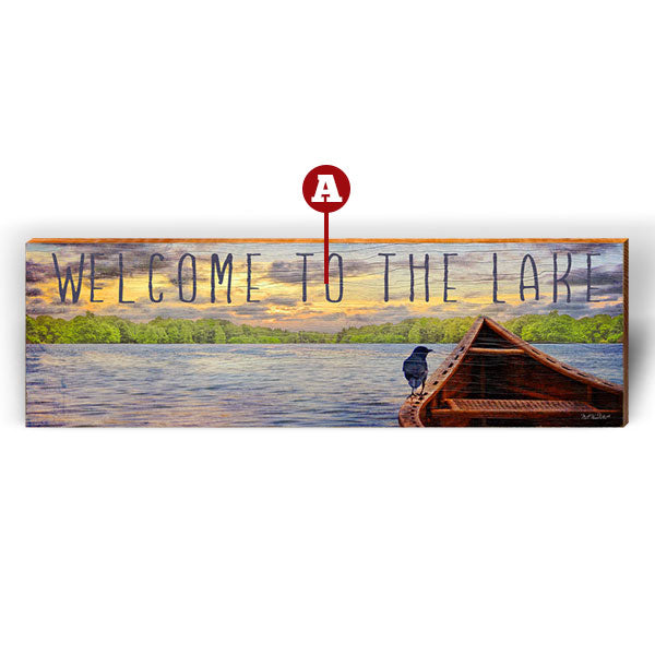"Customizable Sunset Lake ""Welcome To"" Piece-Mill Wood Art"