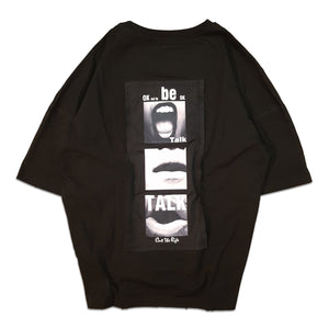 mens Ovesized dropped shoulder Talk Raw T-Shirt by Cut the Rife