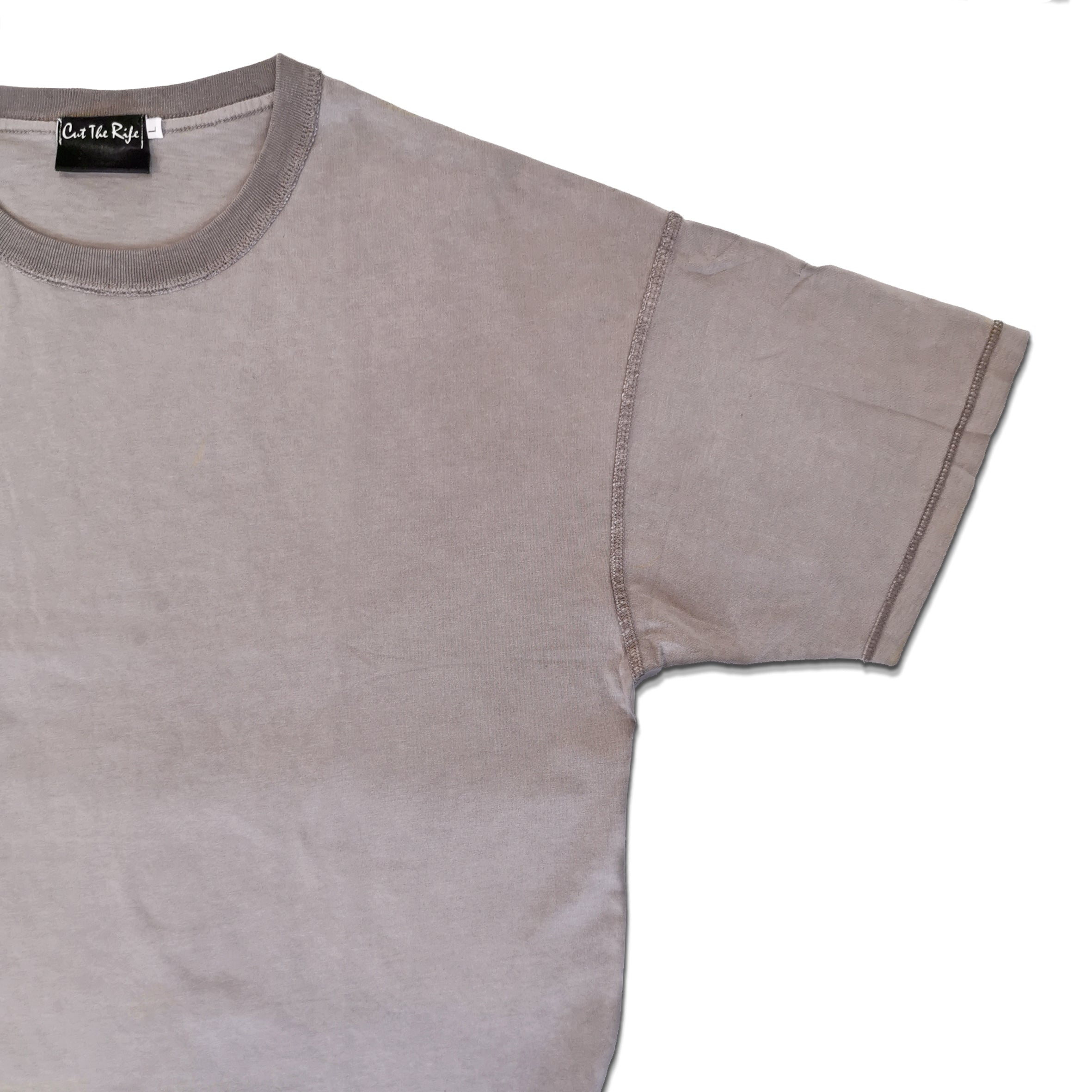 distressed washed grey drop shoulder vintage t-shirt