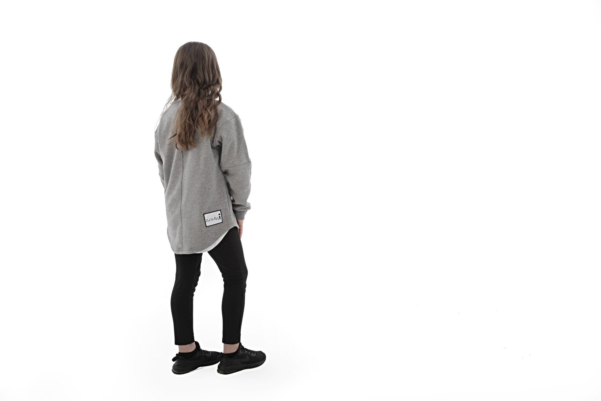 kids oversized soft lingsleeve sweater with rounded hem, by Cut the Rife